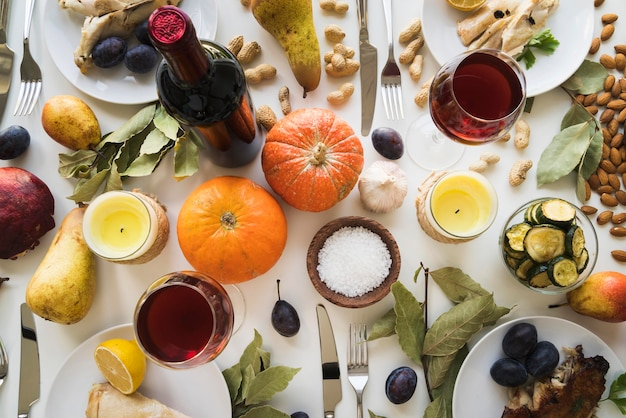 Smaczny asortyment posiłków na święto dziękczynienia