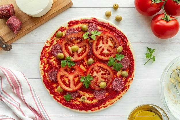 Smaczny asortyment tradycyjnej pizzy