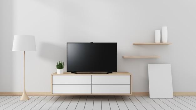 Smart tv mockup na wystrój szafki, nowoczesny salon w stylu zen. 3d rendering
