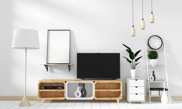 Smart tv mockup nowoczesny salon w stylu zen. 3d rendering
