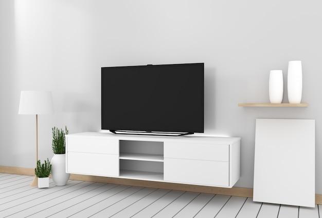 Smart tv mockup wystrój szafki, nowoczesny salon w stylu zen. 3d rendering