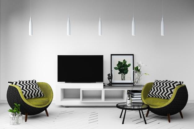 Smart tv mockup z białym pokojem z sofą i stolikiem do dekoracji lamp. 3d rendering