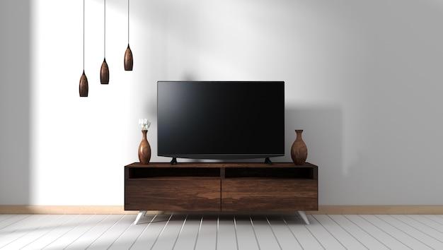 Smart tv mockup z pustym czarnym ekranem wiszącym na wystroju szafki. 3d rendering
