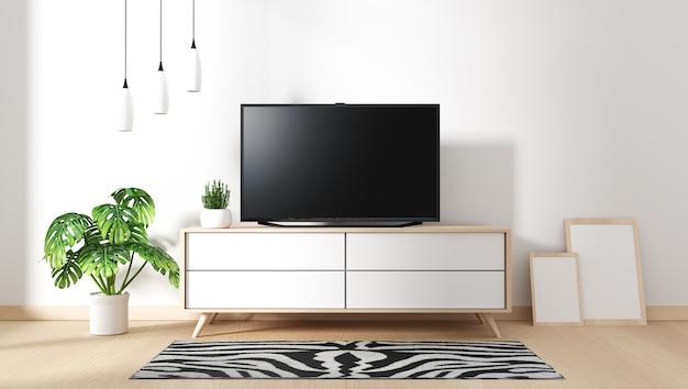 Smart tv mockup z pustym czarnym ekranem wiszącym na wystroju szafki, w stylu zen.