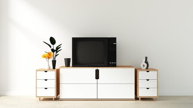 Smart tv mockup z pustym czarnym ekranem wiszącym na wystroju szafki