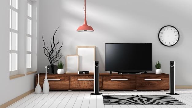 Smart tv mockup z pustym czarnym ekranie wiszącym na drewnianym wystroju szafki. renderowania 3d