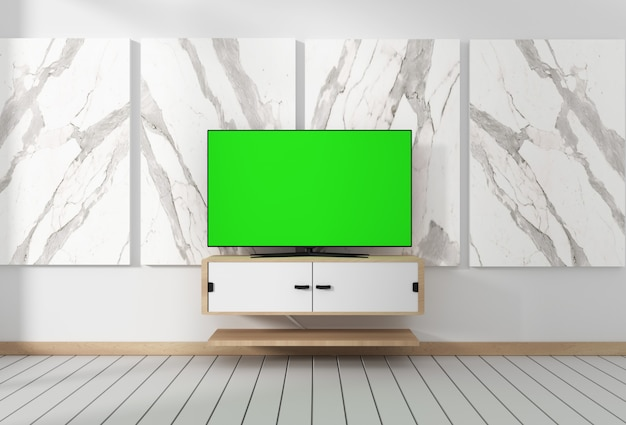 Smart tv mockup z pustym zielonym ekranem wiszącym na wystroju szafki. 3d rendering