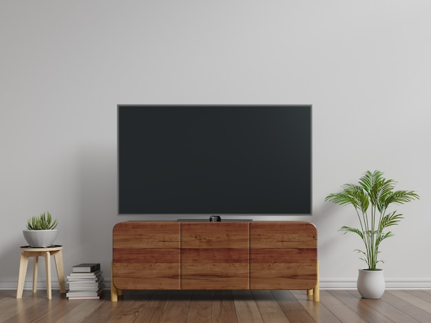 Smart tv na szafce biała ściana w salonie, minimalistyczny design, renderowania 3d