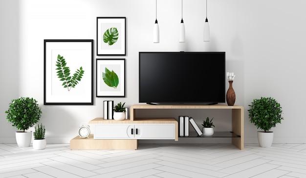 Smart tv na szafie sławy i wystroju, nowoczesny salon w stylu zen. 3d rendering