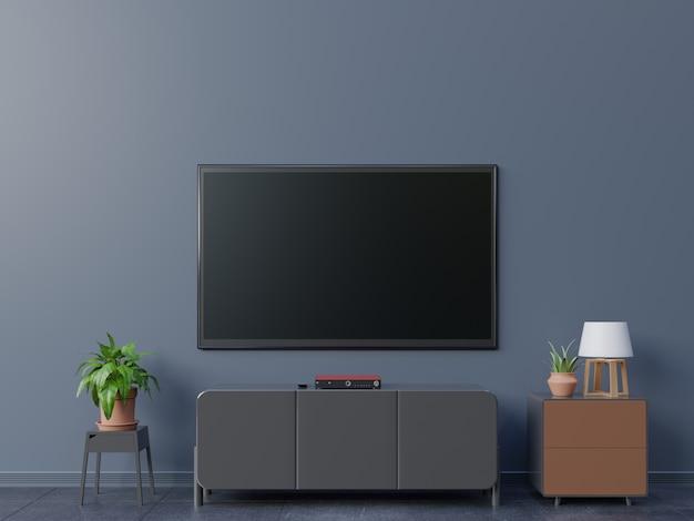 Smart tv w pokoju na żywo i ciemnej ścianie