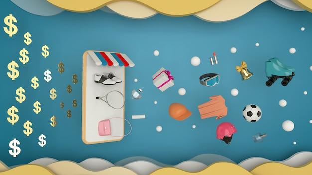 Smartfon do wprowadzania treści w otoczeniu toreb na zakupy, koszyków na niebiesko