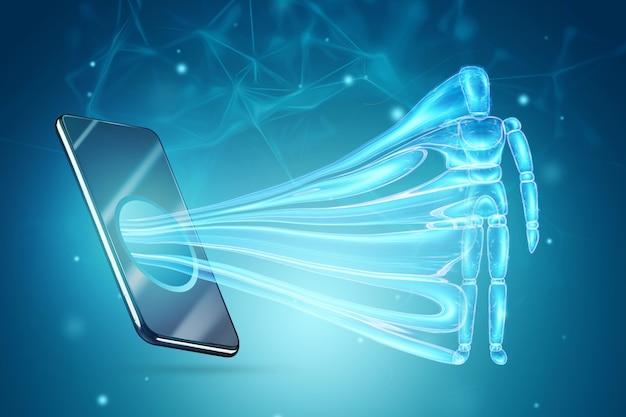 Smartfon wciąga figurkę postaci marionetki. pojęcie uzależnienia od smartfonów, współczesne problemy, życie w internecie, społecznościowe. sieci, ilustracja 3d, renderowanie 3d.