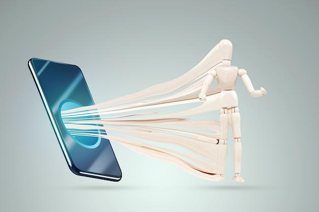 Smartfon wciąga figurkę postaci marionetki. pojęcie uzależnienia od smartfonów, współczesne problemy, życie w internecie, społecznościowe. sieci.