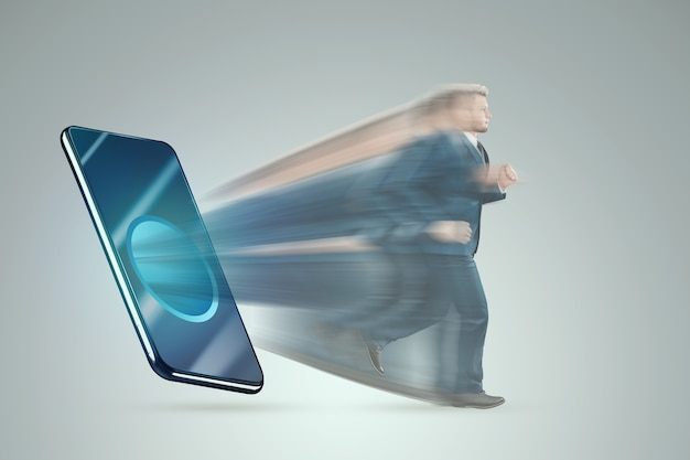 Smartfon wciąga sylwetkę mężczyzny. pojęcie uzależnienia od smartfonów, współczesne problemy, życie w internecie, społecznościowe. sieci.