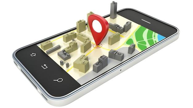 Smartfon z bezprzewodową mapą nawigacyjną