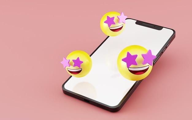 Smartfon z gwiazdą uderzoną ikoną emoji renderowania 3d