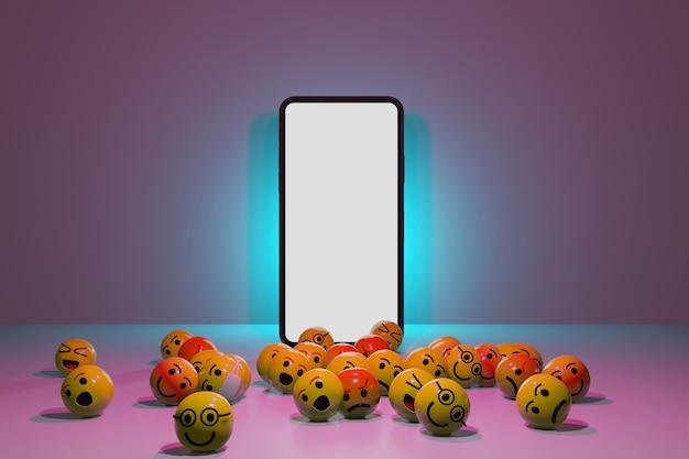 Smartfon z ikonami emotikonów kreskówek dla mediów społecznościowych. renderowanie 3d