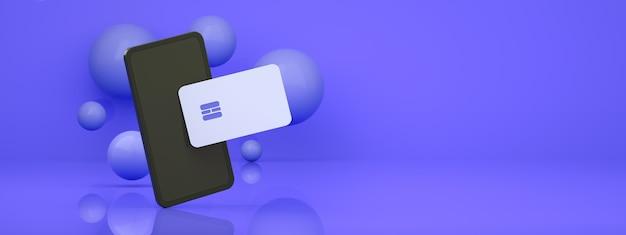 Smartfon z kartą kredytową na niebieskim tle, koncepcja panoramiczny układ płatności online, renderowanie 3d