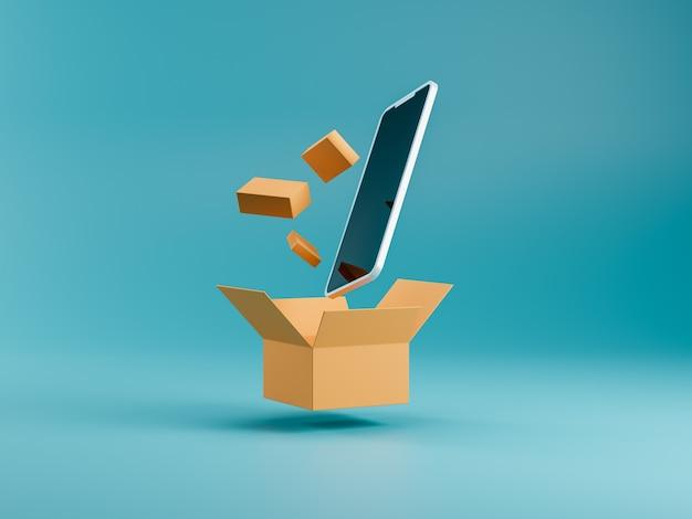 Smartfon z pudełkiem i małymi paczkami dostawy na niebieskim tle. koncepcja m-commerce. online