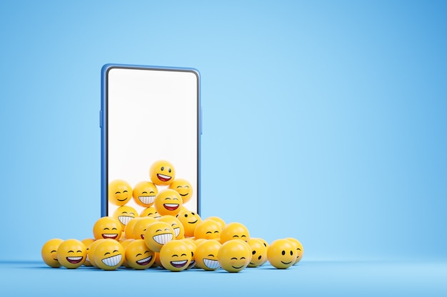 Smartfon z pustym ekranem i stertą żółtych emoji uśmiechu na niebieskim tle z miejscem na kopię. ilustracja renderowania 3d
