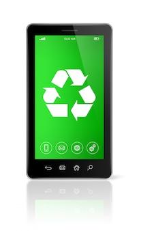 Smartfon z symbolem recyklingu na ekranie. koncepcja ochrony środowiska