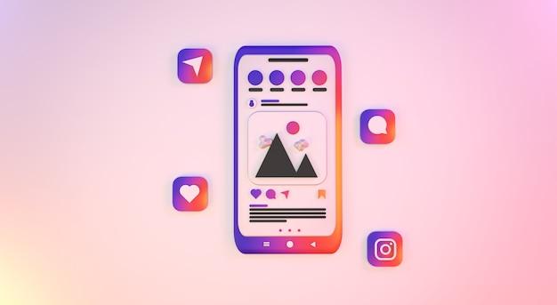 Smartfon z wyświetlaczem w mediach społecznościowych zdjęcia premium