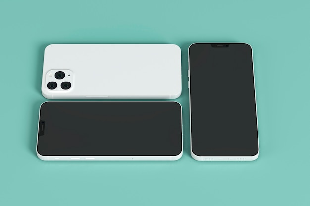 Smartfony na zielonym tle wysoki kąt