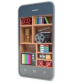 Smartphone multimedialny pojęcie, odosobniony biały tło