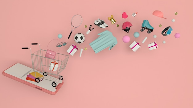 Smartphone wchodzić do zawartość otaczającą torba na zakupy, wózek na zakupy, 3d rendering