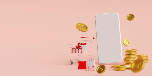 Smartphone z koszykiem i złotą monetą, renderowanie 3d