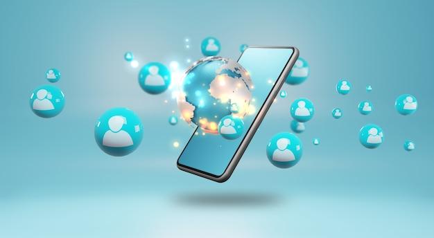 Smartphone z ludzkimi ikonami. koncepcja sieci społecznej, renderowanie 3d