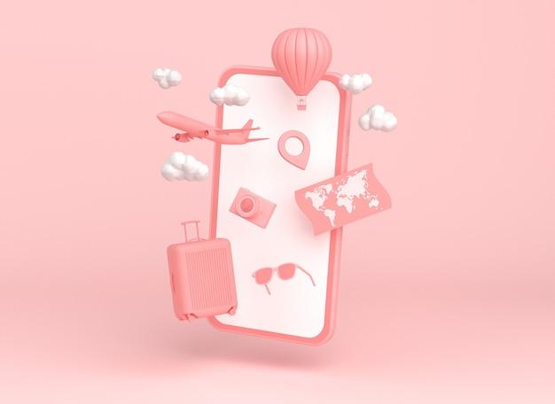 Smartphone z samolotu, balonem i akcesoria podróżne na różowym tle. renderowania 3d.