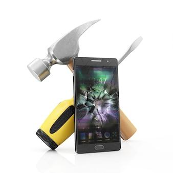 Smartphone z uszkodzonym ekranem i symbolem naprawy