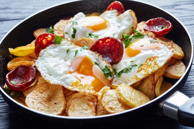 Smażone jajka z ziemniakami, kiełbaski wieprzowe