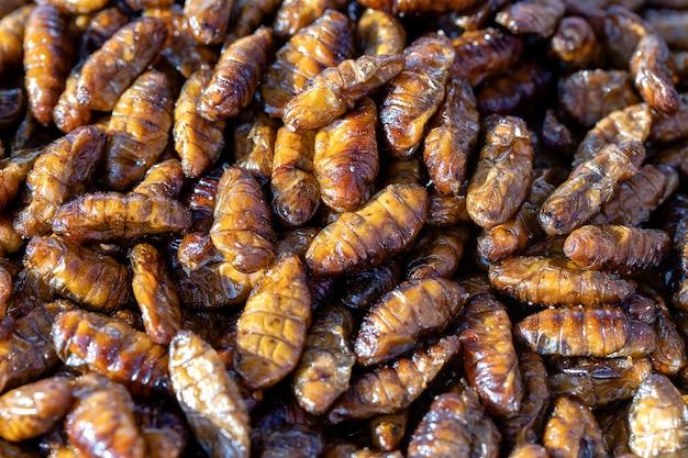 Smażone jedwabniki pyszne w jedzeniu ulicznym w tajlandii. są smażone w głębokim tłuszczu aż do osiągnięcia pełnego stanu kruchości, mocno solone i spożywane jako przekąska wzbogacona białkiem.