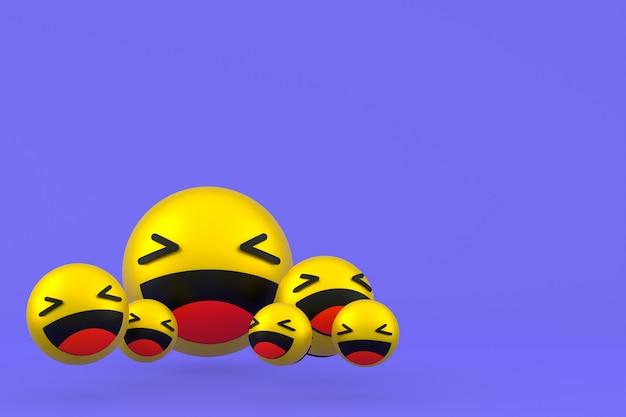 Śmiech ikona facebook reakcje emoji renderowania 3d, symbol balonu w mediach społecznościowych na fioletowym tle