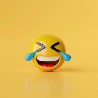 Śmiejąca się ikona emoji na żółtym tle ilustracji 3d