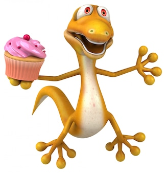 Śmieszna 3d jaszczurka postać trzyma tort filiżanka
