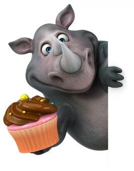 Śmieszna 3d nosorożec postać trzyma filiżanka tort