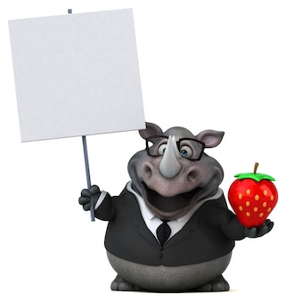 Śmieszna 3d nosorożec postać trzyma plakat i truskawki