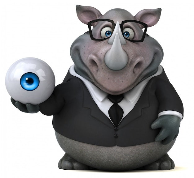 Śmieszna 3d nosorożec postać trzyma wielkiego oko
