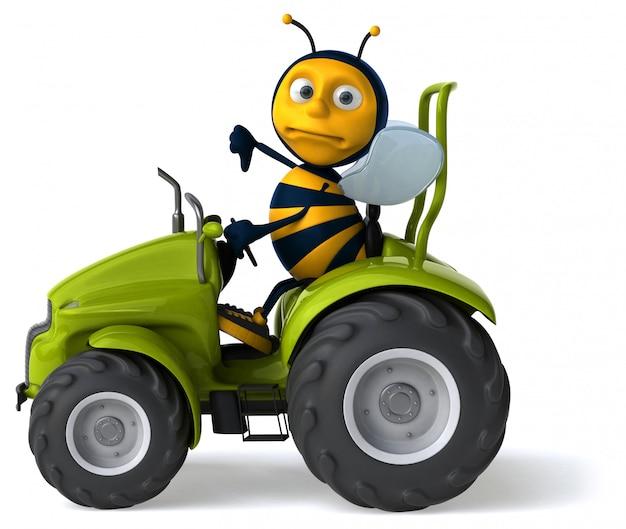 Śmieszna ilustrowana pszczoła jedzie ciągnika i pokazuje kciuki w dół