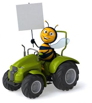 Śmieszna ilustrowana pszczoła jedzie ciągnika trzyma plakat