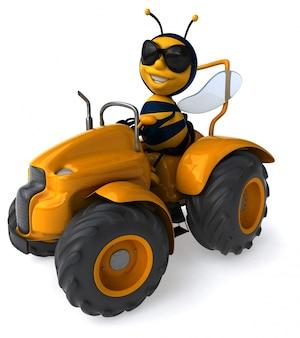 Śmieszna ilustrowana pszczoła jedzie ciągnika