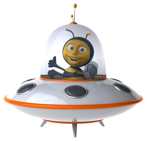 Śmieszna ilustrowana pszczoła w statku kosmicznym pokazuje aprobaty