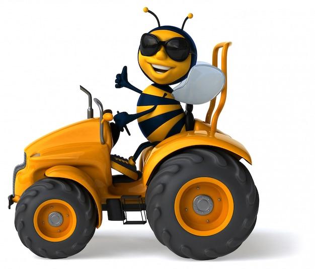 Śmieszna obrazkowa pszczoła jedzie ciągnika pokazuje aprobaty