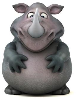 Śmieszna postać z nosorożca 3d, trzymając ręce na brzuchu