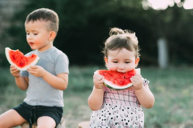 Śmieszne dzieci jedzą arbuza. brat i siostra na świeżym powietrzu, siedząc na pniakach