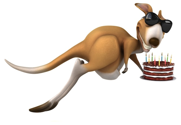 Śmieszne kangur ilustracja 3d