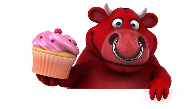 Śmieszny 3d czerwony byk trzyma filiżanka tort